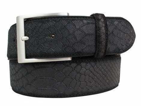 Hochwertiger Ledergürtel schwarz Pythonprägung - Bundlänge 105cm (Breite ca. 4cm) - Bild vergrößern