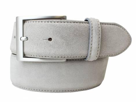 Eleganter Ledergürtel hellgrau veloursartig - Bundlänge 90cm (Breite ca. 4cm) - Bild vergrößern