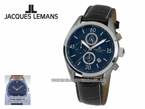 Sportiver Chronograph Ziffernblatt dunkelblau mit Lederband von Jacques Lemans (*JL*HU*) - Bild vergrößern