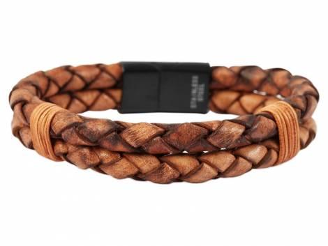 Schmuck-Armband braun Leder Verschluß Edelstahl schwarz - Bandlänge ca. bis 21cm - Bild vergrößern