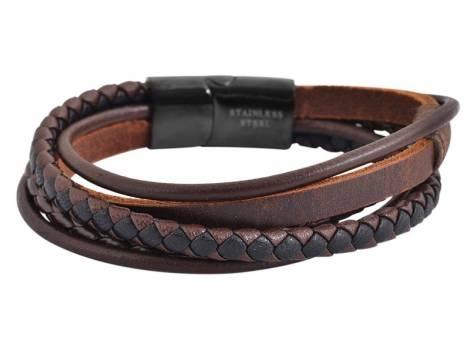 Schmuck-Armband dunkelbraun Leder Verschluß Edelstahl schwarz - Bild vergrößern