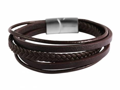 Schmuck-Armband dunkelbraun Leder Verschluß Edelstahl silberfarben - Bandlänge ca. 22,5cm - Bild vergrößern