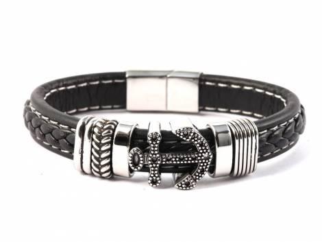 Schmuck-Armband schwarz Leder/Edelstahl Verschluß Edelstahl silberfarben - Bandlänge bis ca. 21cm - Bild vergrößern