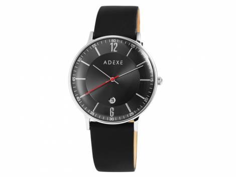 Armbanduhr Edelstahl silberfarben Ziffernblatt schwarz Lederband in schwarz von ADEXE (*AX*HU*) - Bild vergrößern