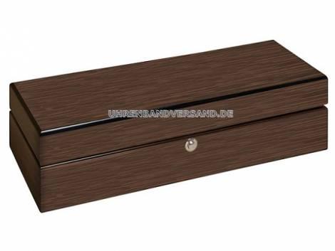 Uhrenbox -Wallnuss- dunkelbraun matt für bis zu 5 Armbanduhren - Bild vergrößern