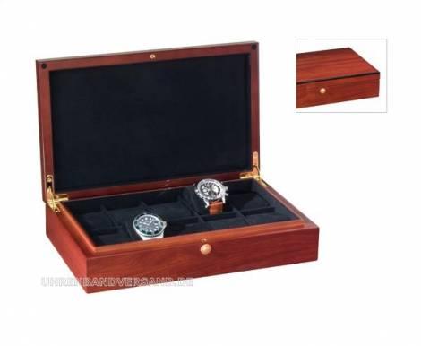 Uhrenkassette -Atlantic- braun für bis zu 10 Armbanduhren - Bild vergrößern