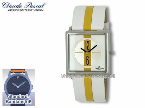 Modische Damenuhr Ziffernblatt silber-gelb-weiß von Claude Pascal (*CL*DU*) - Bild vergrößern