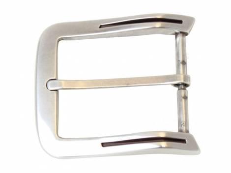 Gürtel-Dornschließe Metall silberfarben matt mit Schlitz schwarz passend für Gürtelbreite 40mm - Bild vergrößern