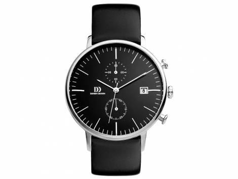 Herren-Chronograph Edelstahl Ziffernblatt schwarz mit Lederband schwarz von Danish Design (*DD*HU*) - Bild vergrößern