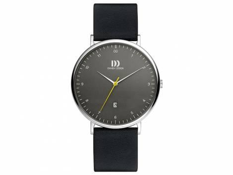 Modische Herrenuhr Edelstahl Ziffernblatt grau mit Lederband schwarz von Danish Design (*DD*HU*) - Bild vergrößern