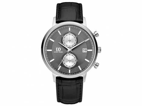 Herren-Chronograph Edelstahl Ziffernblatt anthrazit/silberfarben mit Lederband schwarz von Danish Design (*DD*HU*) - Bild vergrößern