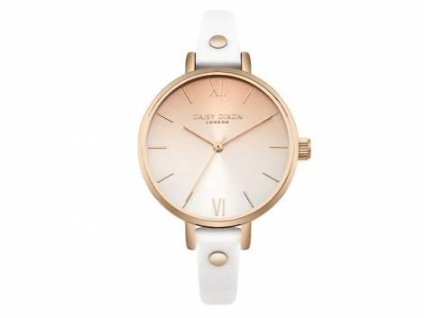 Armbanduhr roségoldfarben Ziffernblatt silber-roségoldfarben Lederband in weiß von Daisy Dixon (*DX*DU*) - Bild vergrößern