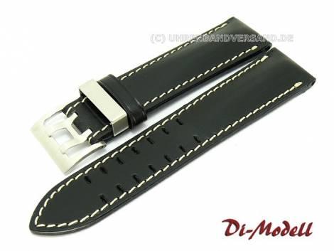Uhrenarmband 20mm schwarz Di-Modell -Offroad- Metallschlaufe weiße Naht (Schließenanstoß 20 mm) - Bild vergrößern