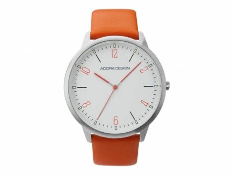 Armbanduhr Edelstahl silberfarben Ziffernblatt weiß Lederband in orange von ADORA (*AD*HU*) - Bild vergrößern