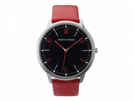 Armbanduhr Edelstahl silberfarben Ziffernblatt schwarz Lederband in rot von ADORA (*AD*HU*) - Bild vergrößern