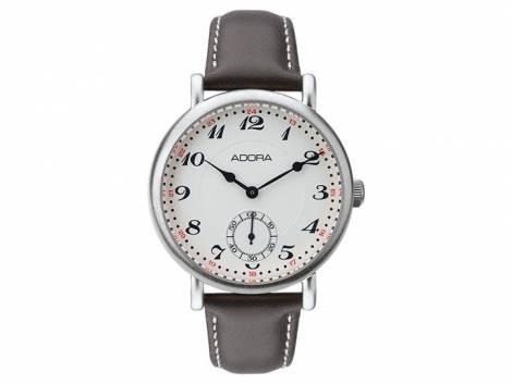 Armbanduhr Edelstahl Ziffernblatt hell mit Lederband braun von ADORA (*AD*HU*) - Bild vergrößern