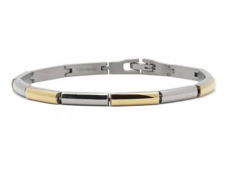 Schmuck-Armband Titan titanfarben/goldfarben von CEM - Bandlänge ca. bis 19cm - Bild vergrößern