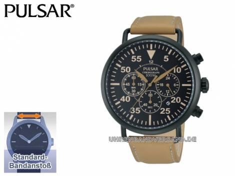 Sportliche Herrenuhr Chronograph Titankarbid schwarz Ziffernblatt schwarz von Pulsar (*PR*HU*) - Bild vergrößern