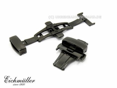 Butterfly-Faltschließe (EmBFS-76) 20mm Edelstahl PVD schwarz mit Drückern - Bild vergrößern