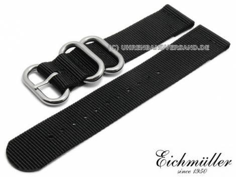 Uhrenarmband 22mm schwarz Textil Military-Look ZULU NATO-Design von EICHMÜLLER - Bild vergrößern