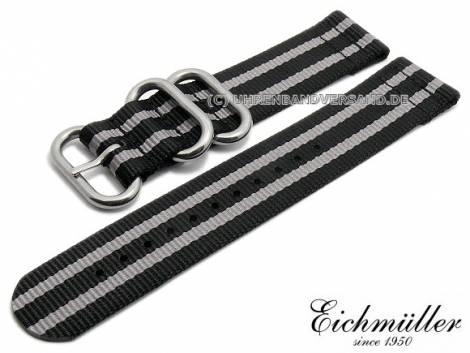 Uhrenarmband 22mm schwarz Textil Military-Look ZULU NATO-Design graue Streifen von EICHMÜLLER - Bild vergrößern