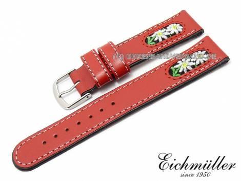 Uhrenarmband 20mm rot Leder/Textil Trachten-Look von EICHMÜLLER (Schließenanstoß 18 mm) - Bild vergrößern