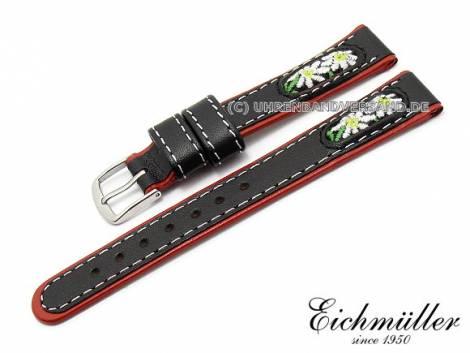 Uhrenarmband 14mm schwarz Leder/Textil Trachten-Look von EICHMÜLLER (Schließenanstoß 12 mm) - Bild vergrößern