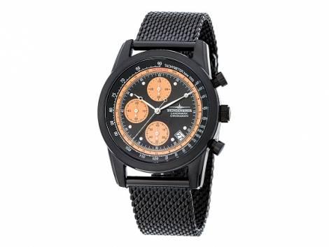Sportliche Fliegeruhr Chronograph schwarz Edelstahl 5 ATM wasserdicht Milanaiseband schwarz von Thunderbirds (*EM*HU*) - Bild vergrößern