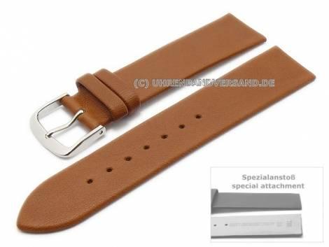 Uhrenarmband 16mm hellbraun Leder Spezialanstoß für verschr. Gehäuse EULIT (Schließenanstoß 14 mm) - Bild vergrößern