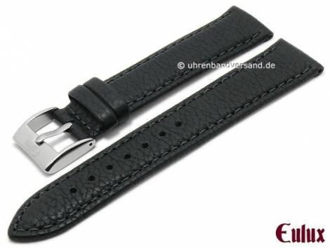 Uhrenarmband -Olive- 18mm schwarz Olivenleder vegetabil gegerbt abgenäht von EULUX (Schließenanstoß 16 mm) - Bild vergrößern