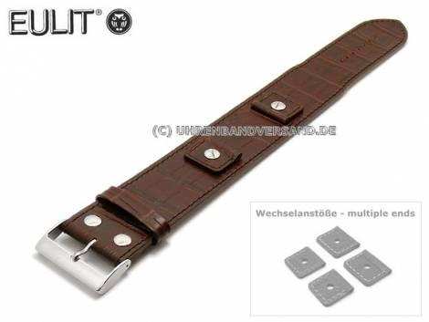 Uhrenarmband 18-20-22-24mm dunkelbraun Kalbsleder Lederunterlage von EULIT (Schließenanstoß 32 mm) - Bild vergrößern