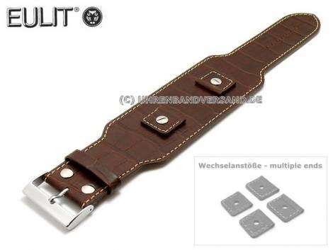 Uhrenarmband 18-20-22-24mm dunkelbraun Kalbsleder Alligator-Prägung Lederunterlage EULIT (Schließenanstoß 32 mm) - Bild vergrößern