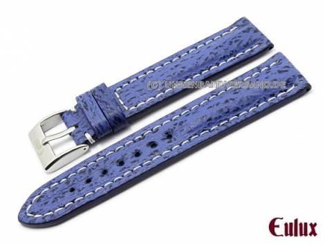Uhrenarmband 22mm blau echt Haifisch-Leder von EULUX (Schließenanstoß 20 mm) - Bild vergrößern
