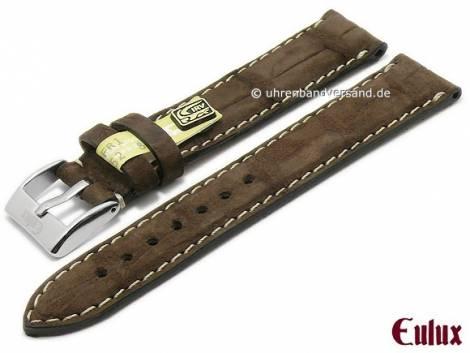 Uhrenarmband -Kaiman Nubuk- 22mm dunkelbraun echtes Alligatorleder mit Samtgriff von EULUX (Schließenanstoß 20 mm) - Bild vergrößern
