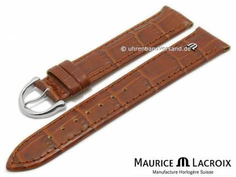 Uhrenarmband Original MAURICE LACROIX 20mm hellbraun Leder Alligator-Prägung abgenäht - Bild vergrößern