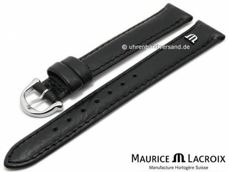 Uhrenarmband Original MAURICE LACROIX 15mm schwarz Leder leicht genarbt bis glatt abgenäht - Bild vergrößern