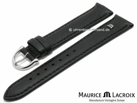 Uhrenarmband Original MAURICE LACROIX 18mm schwarz Leder leicht genarbt bis glatt abgenäht - Bild vergrößern