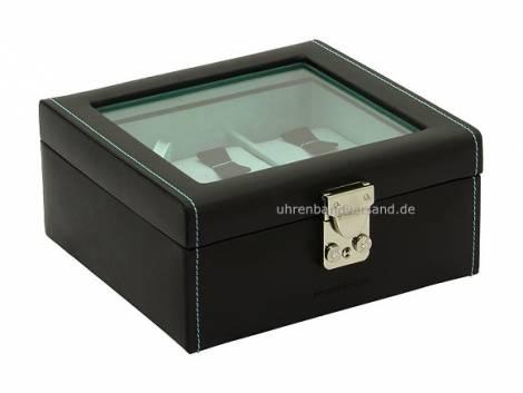 Uhrenkasten -Infinity- schwarz / türkis Vollrindleder mit Fenster für bis zu 6 Armbanduhren - Bild vergrößern