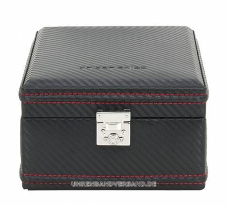 Uhrenbox -Carbon- schwarz mit roter Naht Feinsynthetik für bis zu 4 Armbanduhren im Carbon-Look - Bild vergrößern