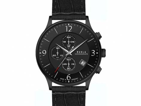 Herrenuhr Chronograph Edelstahl schwarz poliert Ziffernblatt schwarz von Ruhla (*GD*HU*) - Bild vergrößern