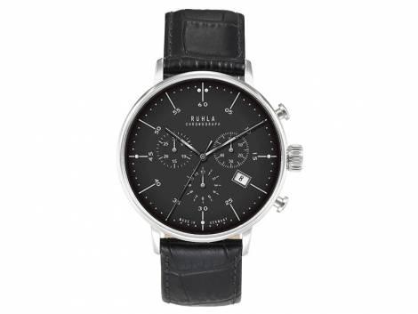 Herrenuhr Chronograph Edelstahl poliert Ziffernblatt schwarz von Ruhla (*GD*HU*) - Bild vergrößern