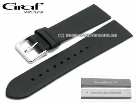 Uhrenarmband -Kopenhagen- 24mm schwarz Leder Spezialanstoß für verschr. Gehäuse von GRAF (Schließenanstoß 18 mm) - Bild vergrößern