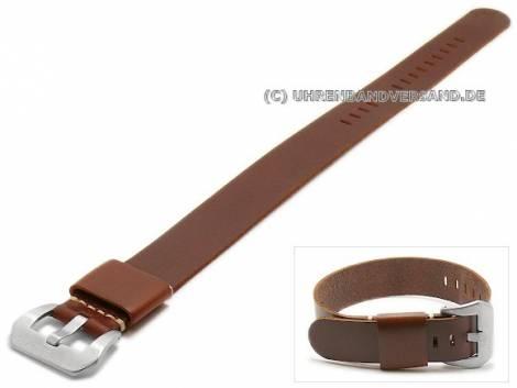 Uhrenarmband 22mm dunkelbraun Leder glatt matt einlagig Durchzugsband (Schließenanstoß 22 mm) - Bild vergrößern