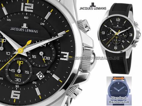 Chronograph sportives Design Ziffernblatt schwarz von Jacques Lemans (*JL*HU*) - Bild vergrößern
