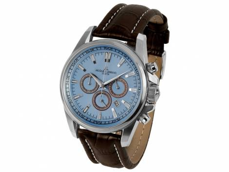 Chronograph Liverpool Ziffernblatt hellblau Lederband von Jacques Lemans (*JL*HU*) - Bild vergrößern