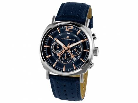 Chronograph Lugano Ziffernblatt blau/schwarz Lederband von Jacques Lemans (*JL*HU*) - Bild vergrößern