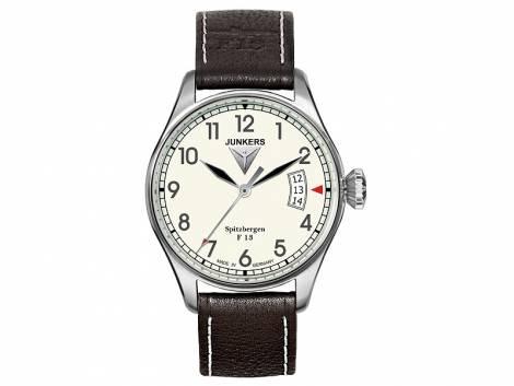 Fliegeruhr Junkers Inspiration -6170-5- Spitzbergen Edelstahl satiniert Leder-Uhrenarmband (*JK*HU*) - Bild vergrößern