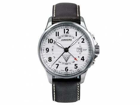 Fliegeruhr Junkers Inspiration -6848-1- Tante JU52 Edelstahl satiniert Leder-Uhrenarmband (*JK*HU*) - Bild vergrößern