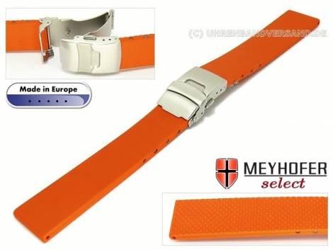 Uhrenarmband -Kiel- 20mm orange Kautschuk mit Faltschließe von MEYHOFER (Schließenanstoß 18 mm) - Bild vergrößern