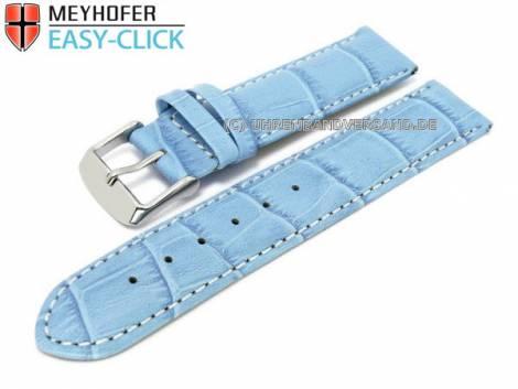 Uhrenarmband Meyhofer EASY-CLICK -Marseille- 16mm hellblau Alligator-Prägung weiße Naht (Schließenanstoß 16 mm) - Bild vergrößern